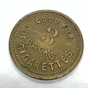 RARE-Antique-Good-For-3-Packs-Of-Ginger-Cigarettes-Brass-Coin-Token-Medal-Old