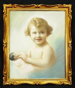 Jakob-Heinrich-REUTLINGER-1802-1868-Pastel-Child-with-doll-Zurich-Queen