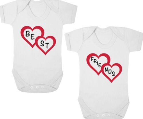 Baby Shower BEST FRIENDS New TWIN Bodysuits//Grows//Vests//Rompers Newborn Gift