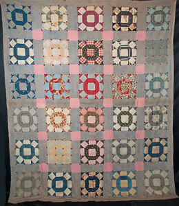 1930s Patchwork Quilt Crown Of Thorns Tied 84 X 70 12 Ebay