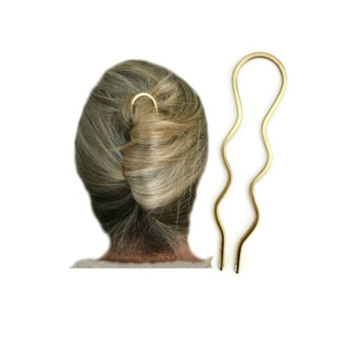 Wavy Bun Holder for THICK or CURLY Hair Gift Details about  /Metal Hair Pin Hair Fork Slide