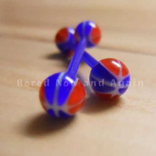 Blue 16g Acrylic Hypoallergenic Non Metallic 19mm Long Barbell some UV