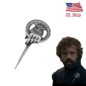 US-Game-of-Thrones-Hand-of-The-King-Silver-Plated-Pin-Brooch-With-Card-Cosplay