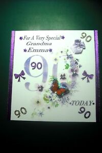 Image Is Loading Handmade Personalised Ladies 90th Birthday Card Any Relative