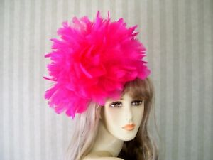 fe611df1cffc0 Image is loading 12-034-Hot-PiNk-Feather-Fascinator-Kentucky-Derby-