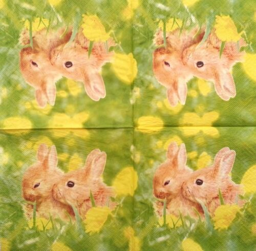 4 Vintage Paper Napkins for Decoupage Lunch Decopatch Party Pair of bunnies