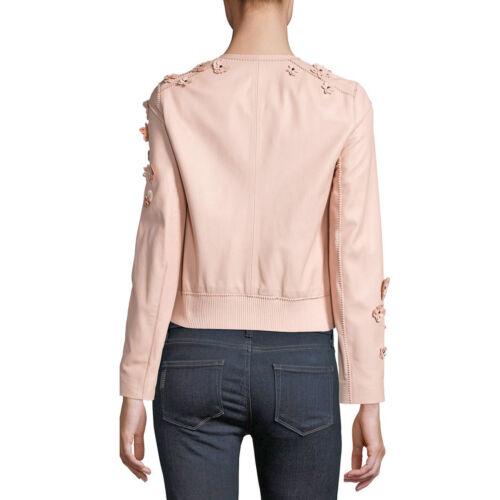 ELIE TAHARI LEATHER Floral Applique GLENNA Jacket Ballerina (blush pink) •  LARGE