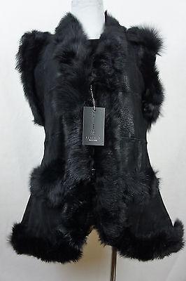 Long Women 100% Shearling Leather Sheepskin Long Haired Toscana Vest Fur S-5XL