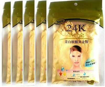 5 x 24K GOLD Active Face Mask Powder Brightening Luxury Spa Anti-Aging Treatment