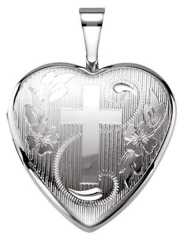 Argent Sterling 0.925 Coeur 12 mm 2 Photo Médaillon Avec Croix De Charme Pendentif