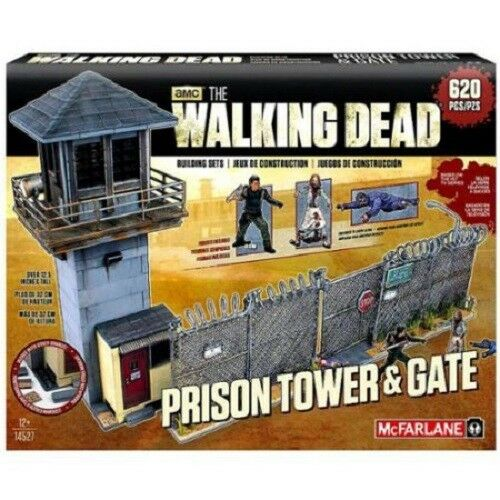 McFarlene Building Set TV The Walking Dead Prison Tower & Gate with Figures NEW