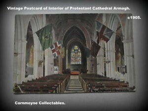 Rare-Vintage-Postcard-of-Interior-of-Protestant-Cathedral-Armagh-c-1905-AH3087