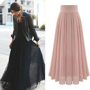 reliable reputation fashion styles luxury aesthetic Details about UK Women Chiffon Long Maxi High Waist Summer Pleated Boho  Beach Skirt Dress Size