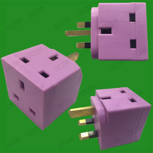 violet 13 amp secteur britannique 3 pin block plug socket splitter adaptateur 1x 2 way