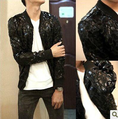 Mens new fashion leopard  motorcycle jacket Slim Korean baseball collar coat