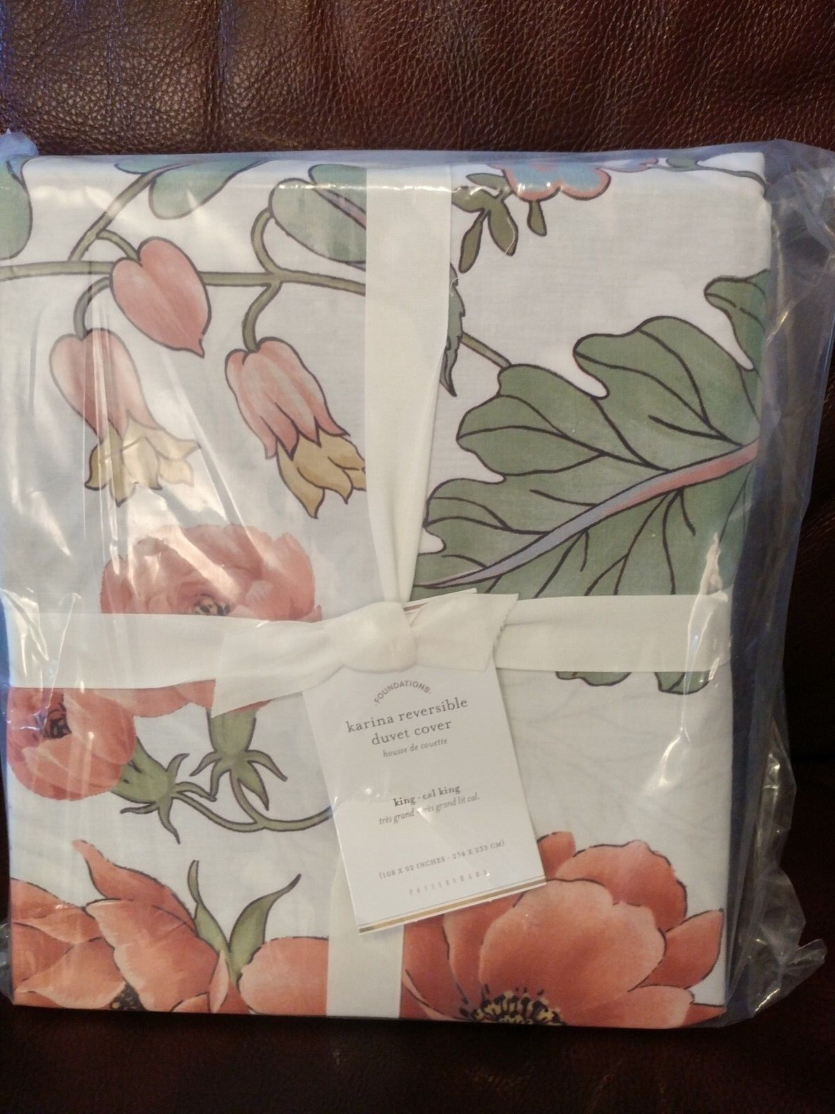 Pottery Barn Multi Couleurs Karina Floral Reversible King Cal King Duvet Cover NWT