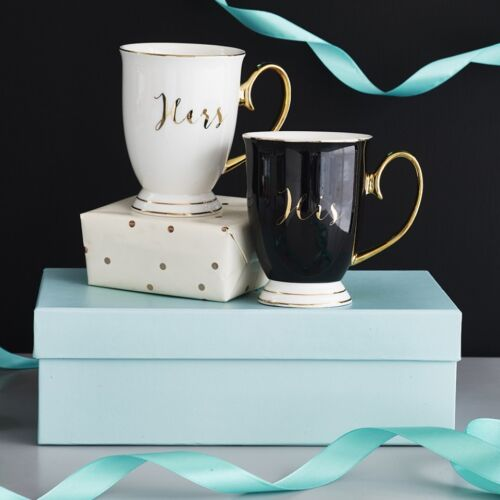 Calligraphy Wedding Gift Boxed Bombay Duck White Black /& Gold His /& Hers Mugs