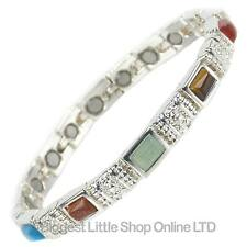 NEW Ladies Magnetic Bracelet with Faux Multi Gemstones HEALTH Strong Strength