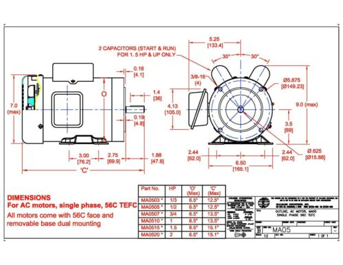 56C//TEFC 115V//208-230V AC MOTOR With base 1PH 1725RPM 1.5HP