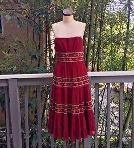 BCBG-Max-Azria-250-Long-Strapless-BOHO-Peasant-Dress-NWOT-Formal-8