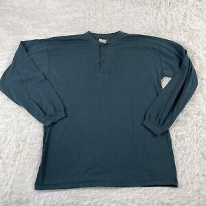 LL Bean Henley Men's Shirt Large Tall Green Long Sleeve Cotton Pullover LT