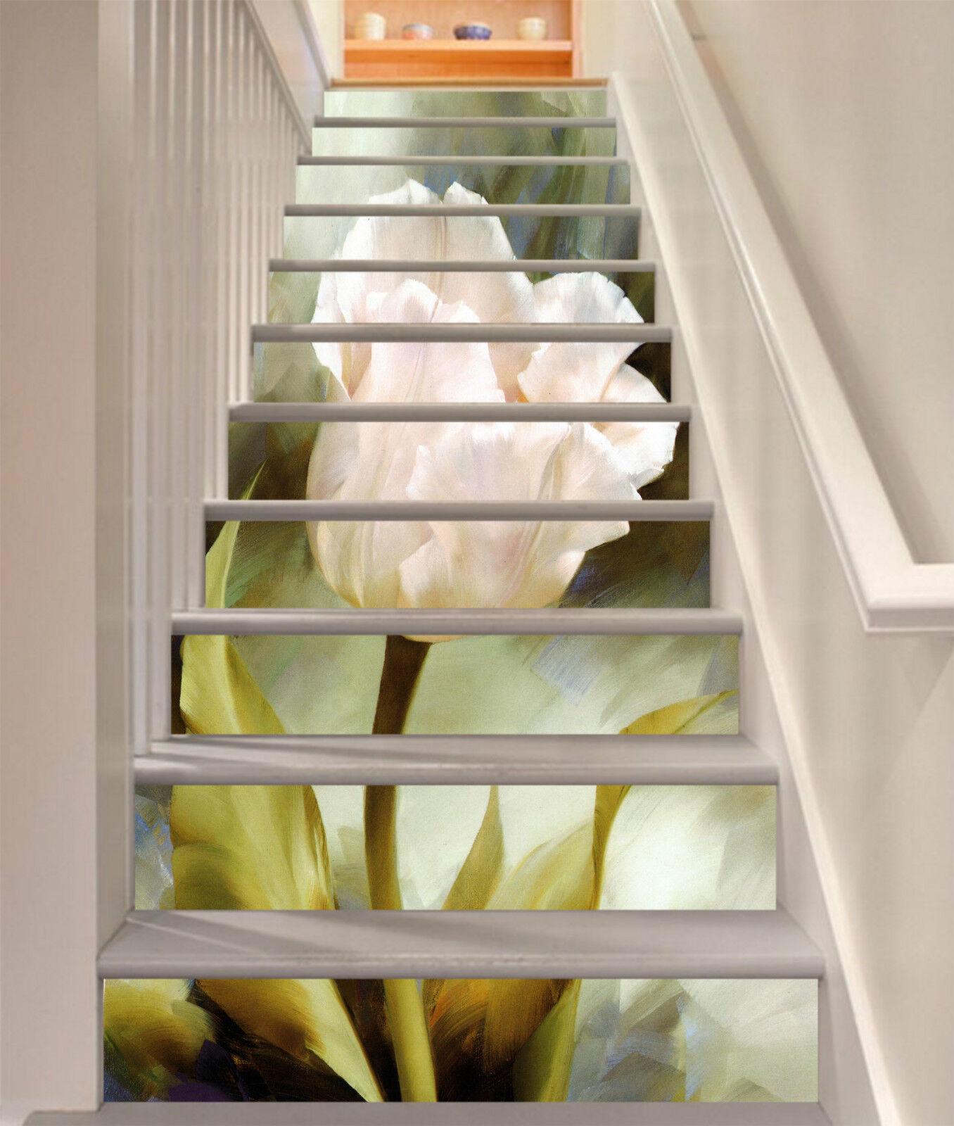 3D Elegante Blaumen Stair Risers Dekoration Fototapete Vinyl Aufkleber Tapete DE