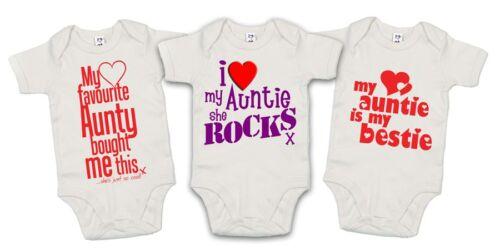 "Set 3 Bodysuit /""I Love Auntie she Rocks Auntie is Bestie/"" My Favourite Aunty"