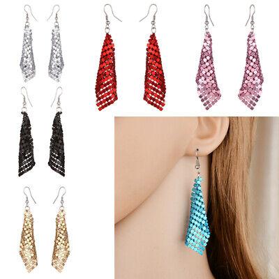 Mesh Chain Mail Sequin Hook Earrings Silver Gold Bronze Ear Drop Dangle Fashion