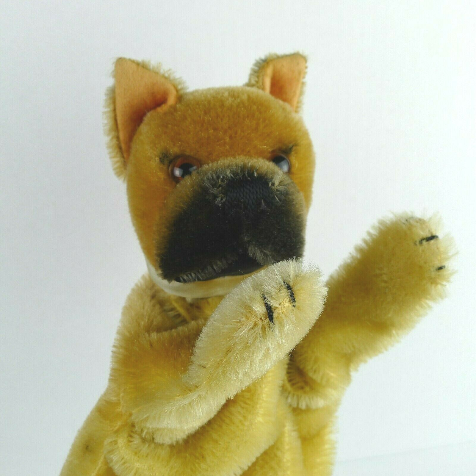 Vintage Steiff Boxer Dog Dog Dog Puppet 1959 Mohair Plush With Faded Bow No Button Tag 196