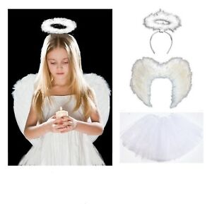 White Tutu Set Angel Costume Feather Girls Halloween Fancy Dress Party Outfit