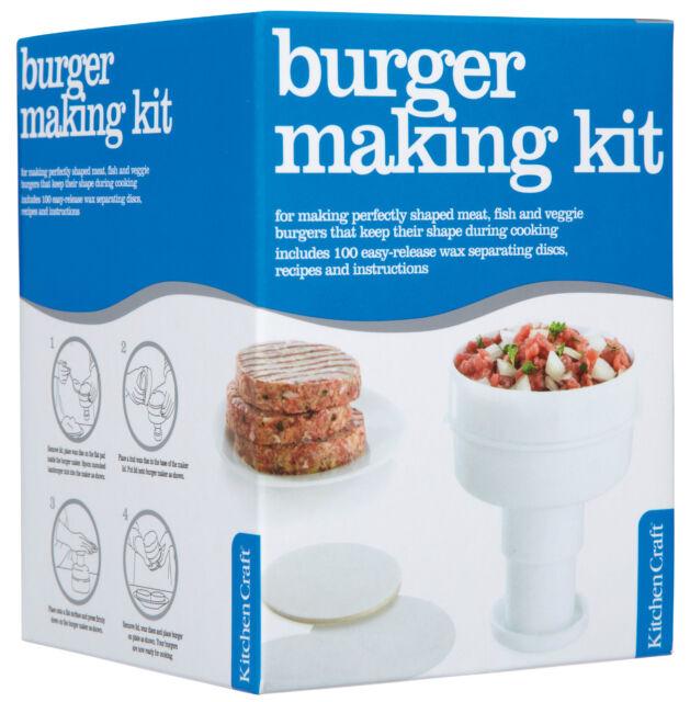Kitchen Craft Home Made Ham / Beef Burger Press Maker - Recipe & 100 Wax Discs