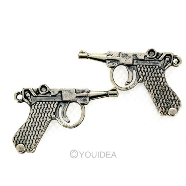 6pcs Antique Silver Retro Gun Shape Alloy charm pendant findings beads 30x20mm