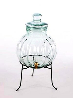 Mexican Clear Glass Beverage Dispenser, Pumpkin Shape with Iron Stand-6.6 QT