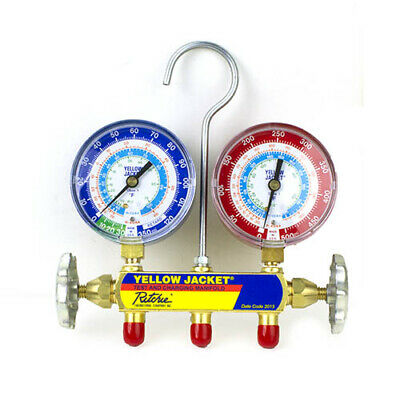 Yellow Jacket 42001 Manifold with 3-1//8 Color-Coded Gauges psi R-22//404A//410A Clamshell