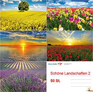 50-er-Postkarten-Set-Fruehling-amp-Sommer-Landschaften-5-Motive-je-10-St