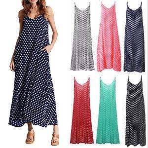 5fc1e17c7cac New type Women Spaghetti Strap Polka Dot Long SunDress Summer Beach ...