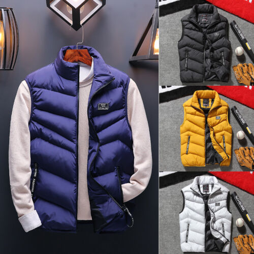 Winter Warm Sleeveless Mens Down Cotton Padded Jacket Vest Waistcoat Parka L-3XL