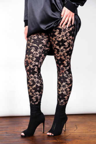Plus Size Black Stretch Sheer Lace Leggings Size 16-26