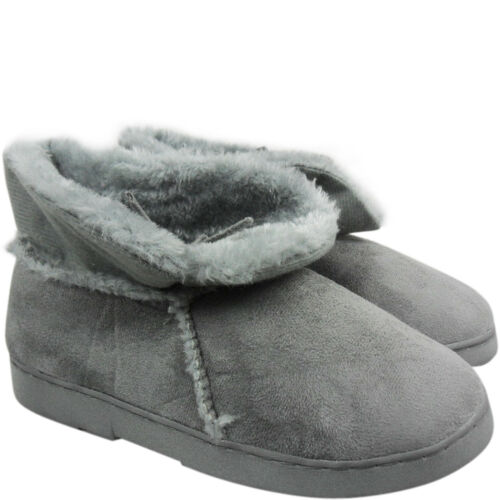 Womens Ladies Fur Lined Bootie Slippers Shoes Grip Sole Winter Comfort New Size