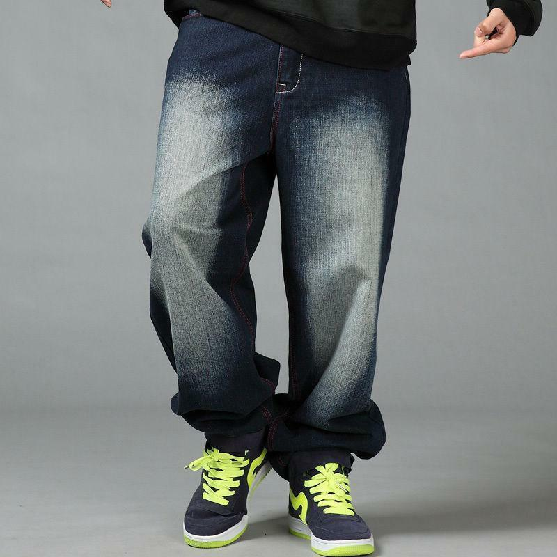 Casual Men's Cotton Hip-Hop Pants Loose Fit Wide Leg Jeans Baggy Trousers Washed