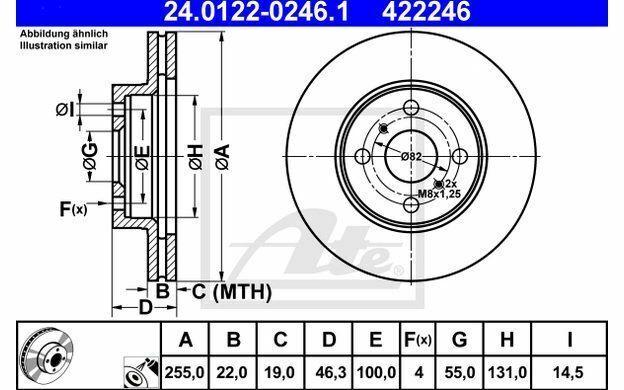 2x ATE Disques de Frein Avant Ventilé 255mm pour TOYOTA YARIS 24.0122-0246.1