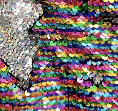Reversible Sequin Fabric Rainbow Color Double-face For Dress Clothing DIY Sewing
