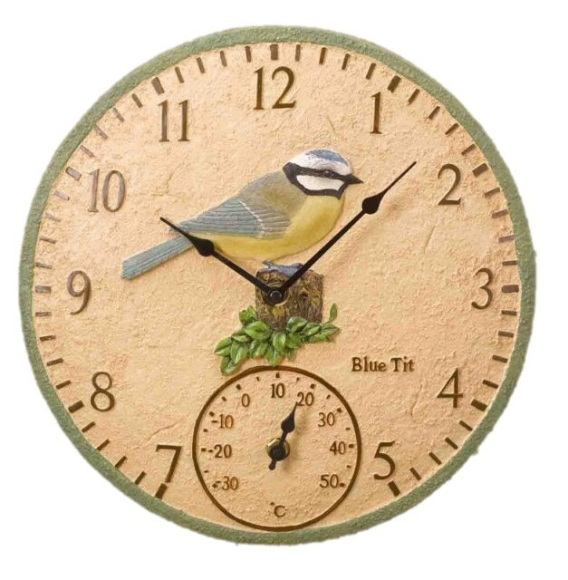 "Blue Tit 12"" Garden Clock Outdoor Outside Indoor Wall Bird Kitchen Gift 30cm"