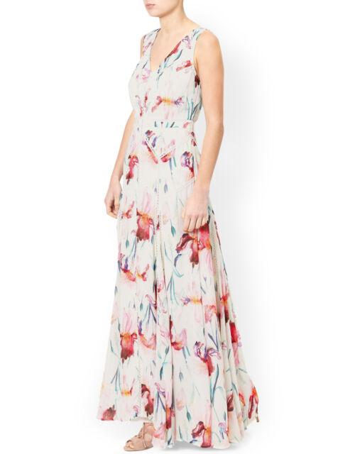 MONSOON KATE IVORY PINK FLORAL PRINT MAXI COCKTAIL WEDDING DRESS UK 8 BNWT