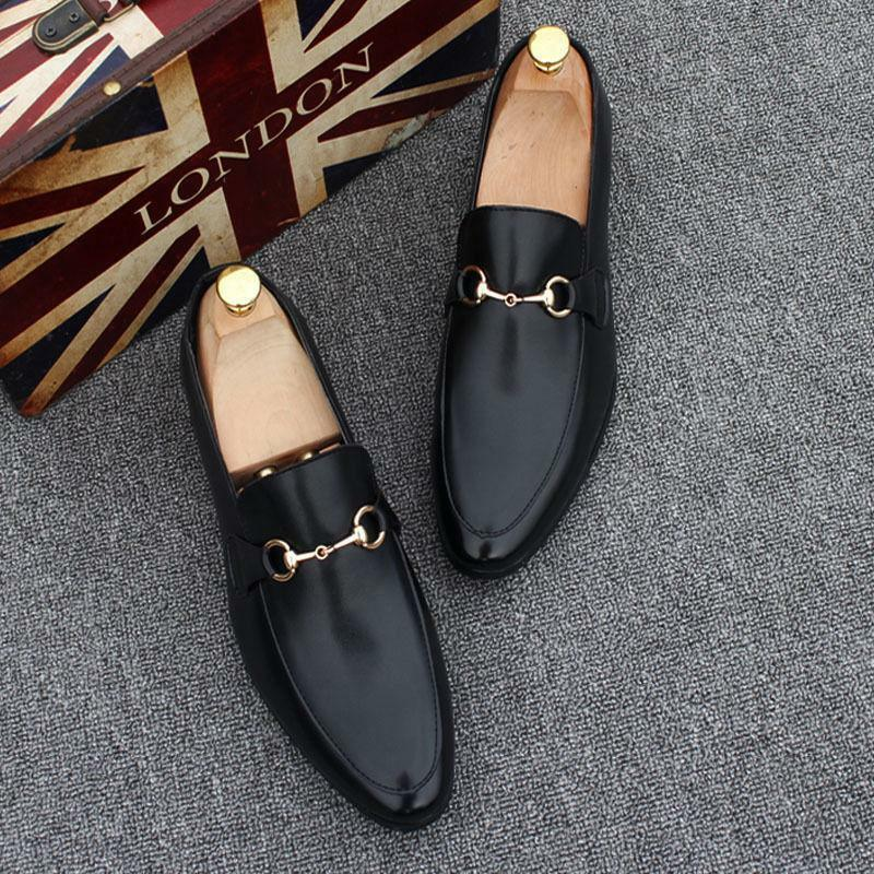 Men's Real Leather Slip On Round Toe Formal Business Loafers Dress Party shoes