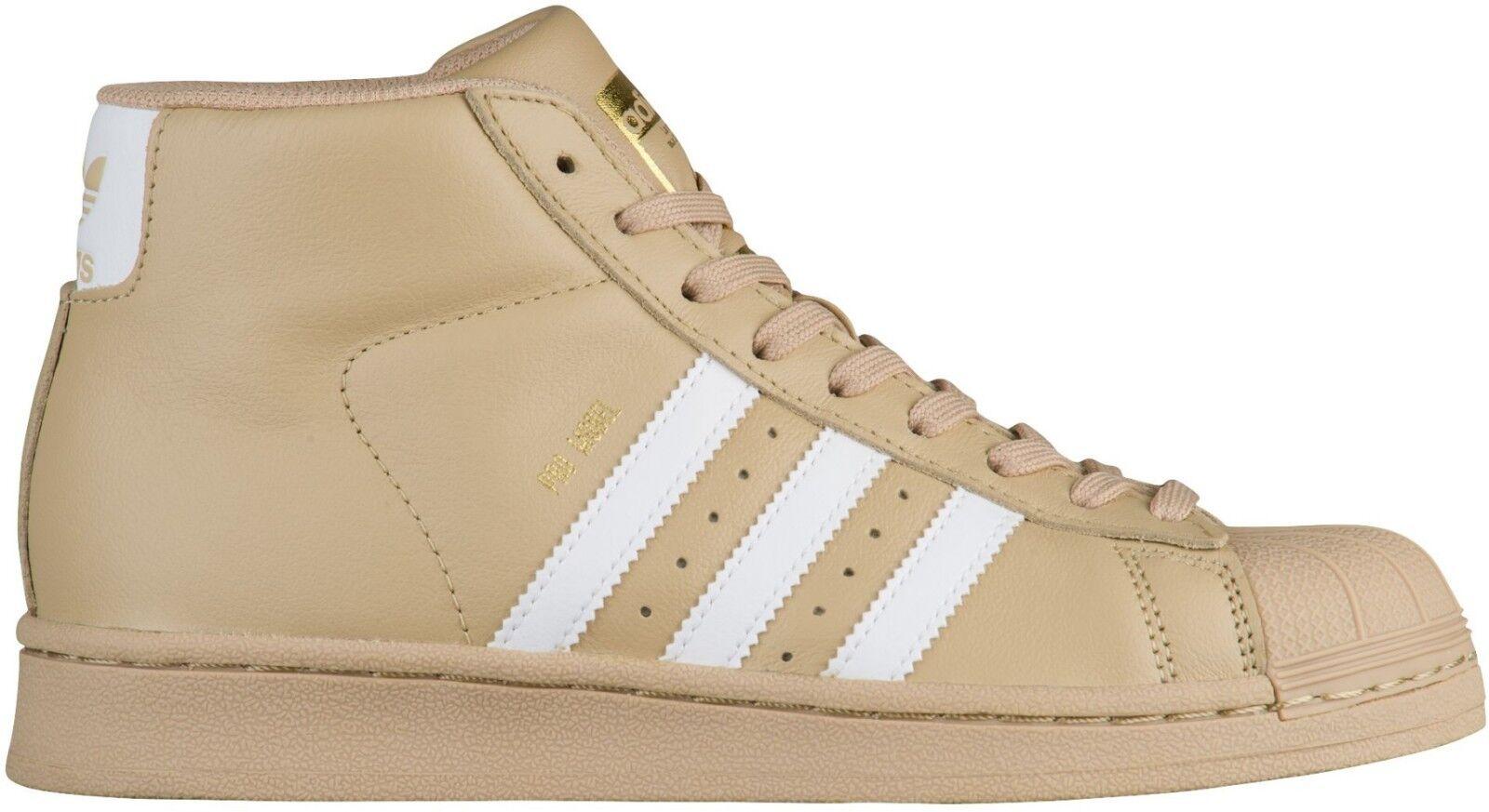Adidas Originals Men's PRO MODEL shoes Linen Khaki White Metallic gold CG5072 b