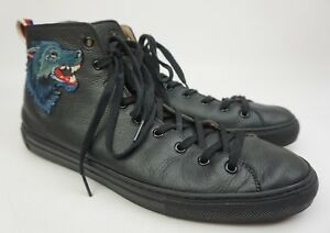 9044c4b2d04 Gucci Major Black Leather Angry Wolf Sneakers Men s Shoes Size 11 G ...
