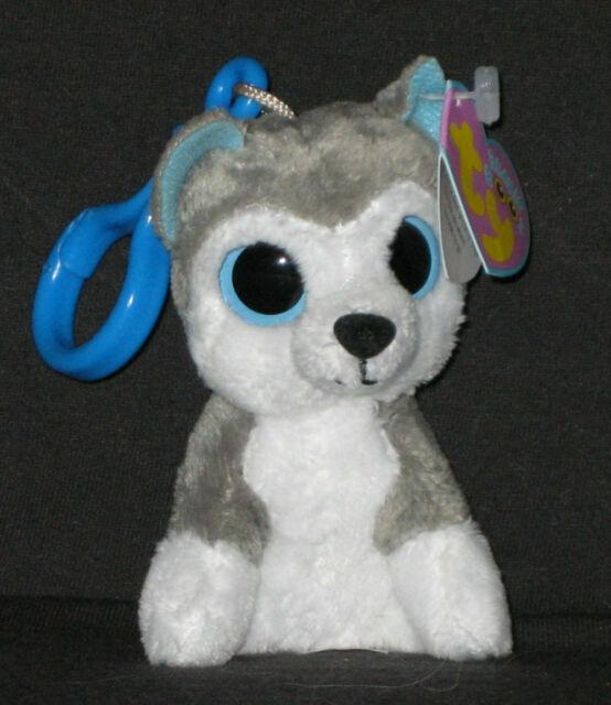 Key Clip - 3 inch SLUSH the Husky Dog - MWMTs TY Beanie Boos Glitter Eyes
