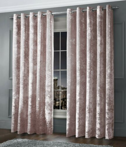Crushed Velvet Curtain Pair Fully Lined Ring Top Eyelet Blush Pink Readymade