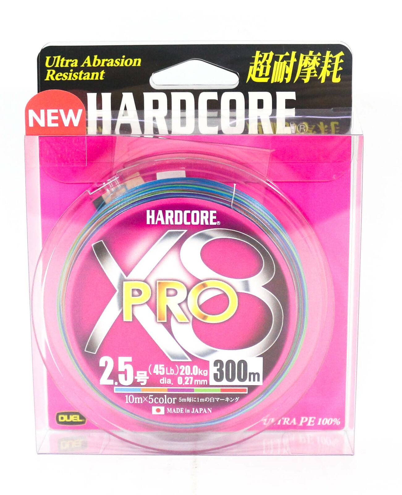 Yo Zuri Duel P.E Linie Hardcore X8 Pro 300m P.E 2.5 20Kg 5 Color H3899 0.27mm